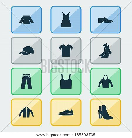 Garment Icons Set. Collection Of Casual, Sneakers, Stylish Apparel And Other Elements. Also Includes Symbols Such As Shirt, Male, Tank.