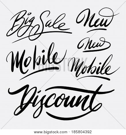 Big sale and discount hand written typography. Good use for logotype, symbol, cover label, product, brand, poster title or any graphic design you want. Easy to use or change color