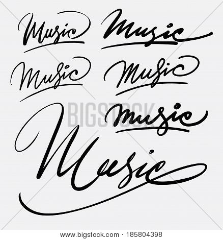 Music hand written typography. Good use for logotype, symbol, cover label, product, brand, poster title or any graphic design you want. Easy to use or change color