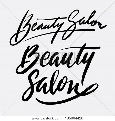 Beauty salon hand written typography. Good use for logotype, symbol, cover label, product, brand, poster title or any graphic design you want. Easy to use or change color