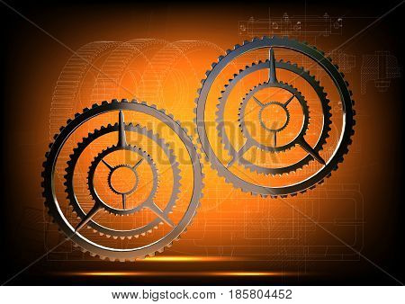 Silver cogwheels on a yellow background. 3 d render