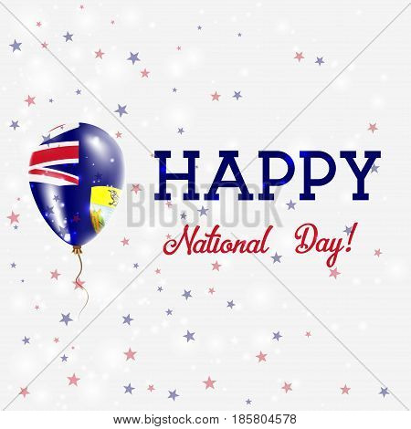 Saint Helena National Day Patriotic Poster. Flying Rubber Balloon In Colors Of The Saint Helenian Fl
