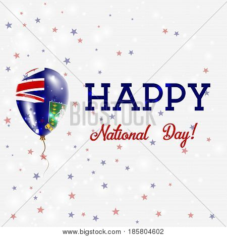 Virgin Islands (uk) National Day Patriotic Poster. Flying Rubber Balloon In Colors Of The Virgin Isl