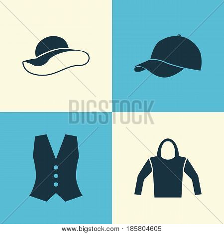 Dress Icons Set. Collection Of Trilby, Elegant Headgear, Sweatshirt And Other Elements. Also Includes Symbols Such As Cap, Headgear, Clothes.