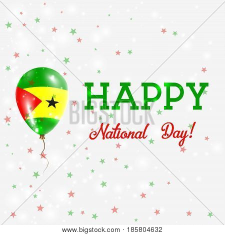 Sao Tome And Principe National Day Patriotic Poster. Flying Rubber Balloon In Colors Of The Sao Tome