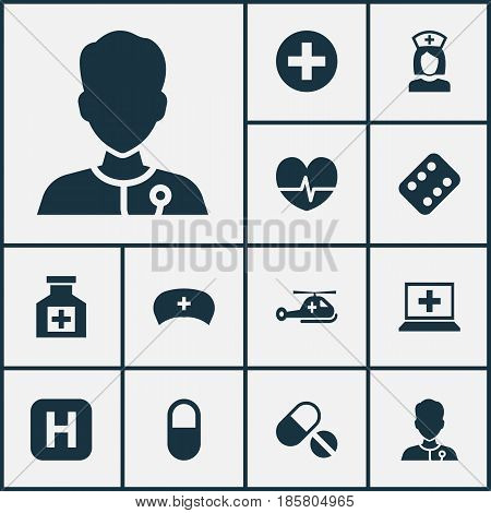 Medicine Icons Set. Collection Of Rhythm, Pills, Remedy And Other Elements. Also Includes Symbols Such As Rhythm, Plus, Nanny.