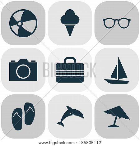 Sun Icons Set. Collection Of Video, Mammal, Forceps And Other Elements. Also Includes Symbols Such As Flip, Valise, Umbrella.