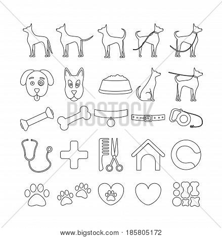 set in 25 line icons dog . Pet symbols and sign for veterinary or cynology firm