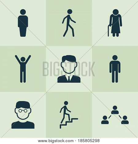 Person Icons Set. Collection Of Ladder, Scientist, Jogging And Other Elements. Also Includes Symbols Such As User, Man, Network.