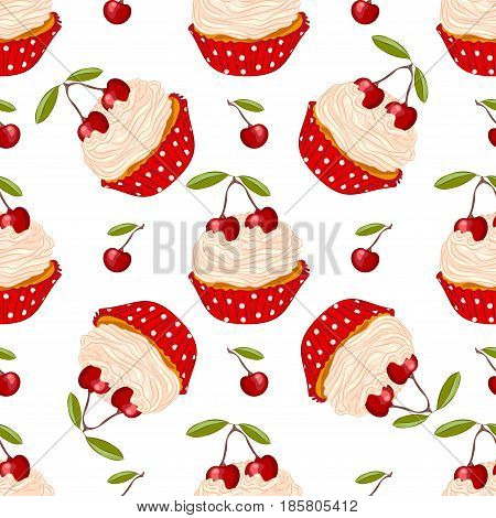 Cupcake with fresh cherry in red holder vector seamless pattern. Sweet dessert for wrapper or textile.