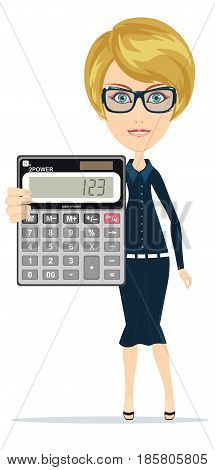 Woman holding an electronic calculator . Stock vector illustration for poster, greeting card, website, ad, business presentation, advertisement design.