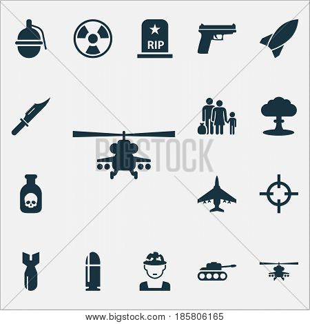 Army Icons Set. Collection Of Panzer, Target, Weapons And Other Elements. Also Includes Symbols Such As Shot, Bomb, Fatal.
