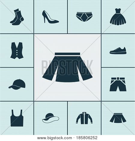 Clothes Icons Set. Collection Of Heel Footwear, Singlet, Sarafan And Other Elements. Also Includes Symbols Such As Sweatshirt, Visor, Half-Hose.