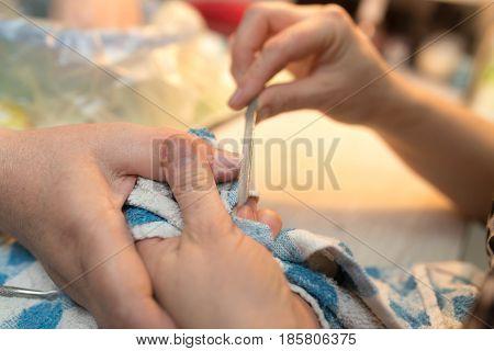 Female manicure on hands in a beauty salon .