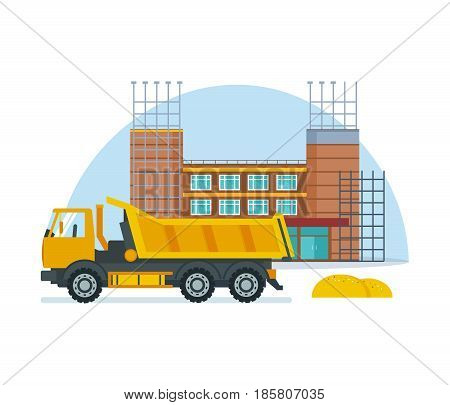 The process of building a school premises with the help of special equipment and truck. Modern vector illustration isolated on white background.