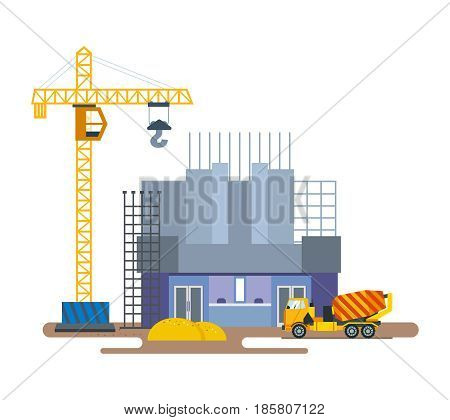 Construction of the building of the cinema with the help of a crane and the import of building materials, work on a concrete mixer. Modern vector illustration isolated on white background.