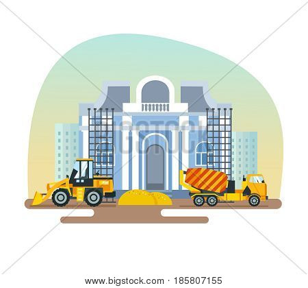 Construction of the museum building with help of special equipment, materials and construction equipment: concrete mixer, forklift, against the background of city houses. Modern vector illustration.