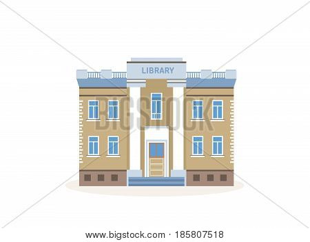 Public library exterior view. Structure with books and contemporary, periodicals archive for learning and study. City building. Modern vector illustration isolated on white background.