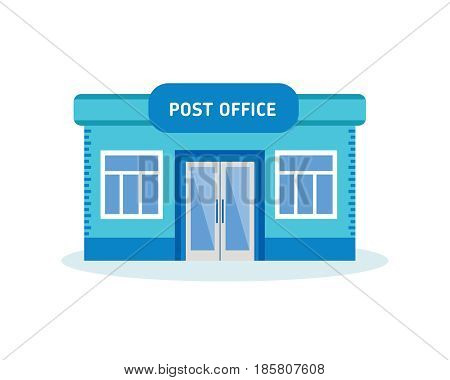 Modern post office building, outdoor interior of house. City building. Modern vector illustration isolated on white background.