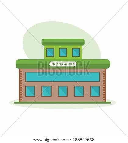Modern beautiful multi-storey building of the children garten, the appearance of the room, the structure and architecture. City building. Modern vector illustration isolated on white background.