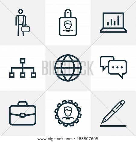Job Outline Icons Set. Collection Of Identification, Manager, Contract Signing And Other Elements. Also Includes Symbols Such As Statistics, Identification, Message.
