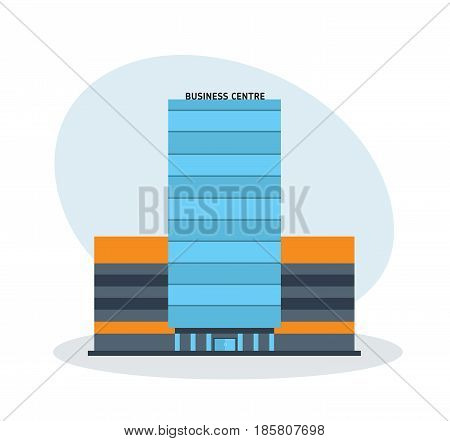 Modern multi-storey business center building, office building. City building. Modern vector illustration isolated on white background.