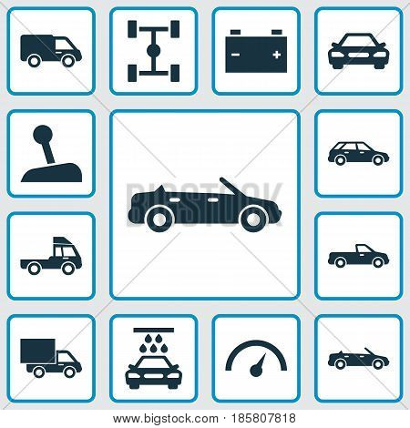 Automobile Icons Set. Collection Of Chronometer, Lorry, Convertible Model And Other Elements. Also Includes Symbols Such As Battery, Lever, Wagon.