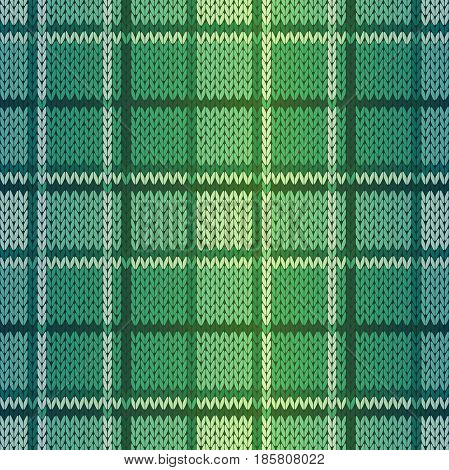 Seamless knitting vector pattern as a fabric texture in green and turquoise hues