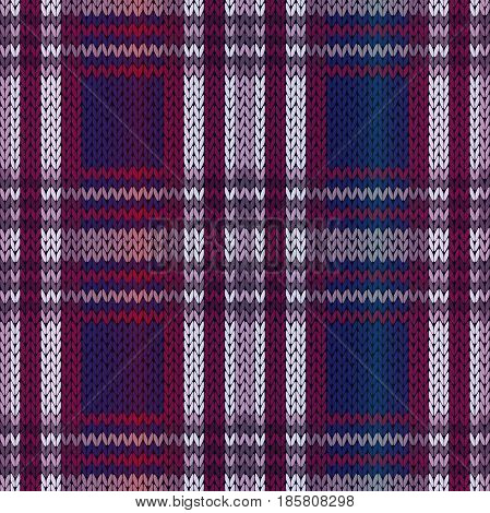 Seamless knitting vector pattern as a fabric texture mainly in blue violet and claret hues