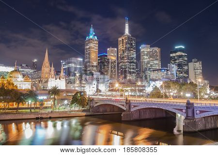 Melbourne the most liveable city in the world. Scenery view in the night time.