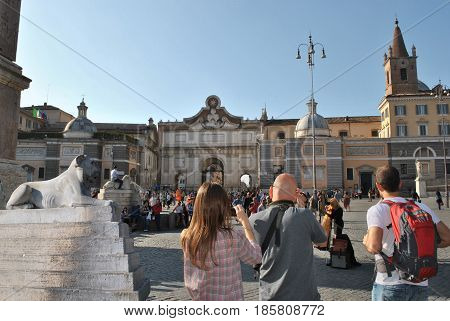 Family tour at summer beauty italian Rome