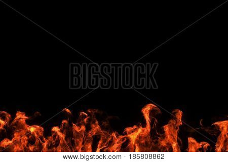 realistic fire flames burn movement frame on black background