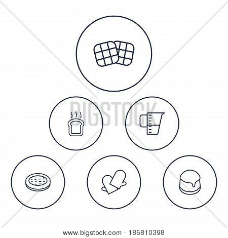 Set Of 6 Bakery Outline Icons Set.Collection Of Waffle, Gloves, Measuring Cup And Other Elements.