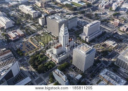 Los Angeles, California, USA - April 12, 2017:  Aerial view of historic City Hall and downtown government buildings.