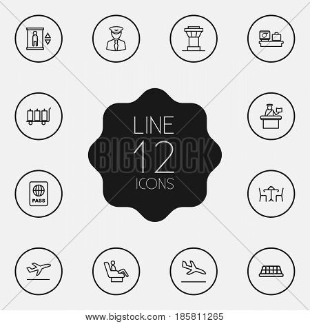 Set Of 12 Airplane Outline Icons Set.Collection Of Luggage Trolley, Business Class, Elevator And Other Elements.