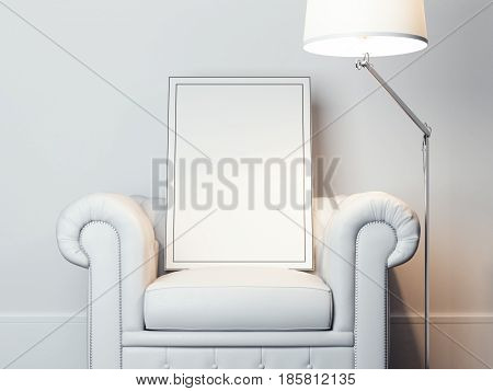 Blank picture frame on the white armchair and modern lamp. 3d rendering