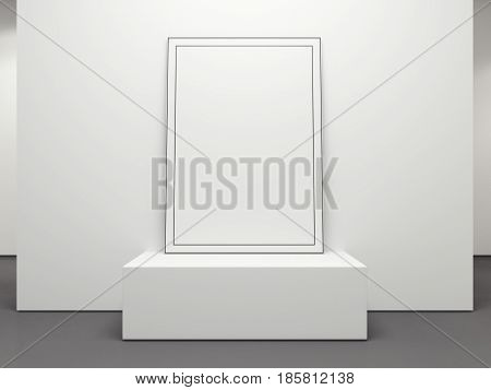 Blank picture frame on the white podium in the gallery. 3d rendering