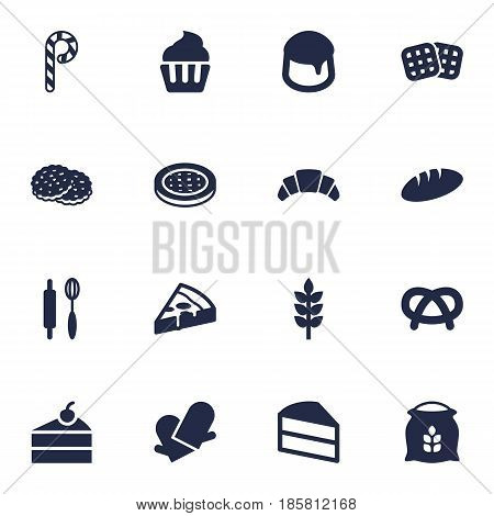 Set Of 16 Cook Icons Set.Collection Of Potholders, Whisk, Sweetmeat And Other Elements.