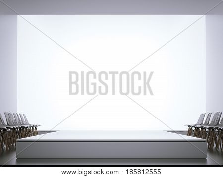 Fashion show. Empty runway and chairs. 3d rendering