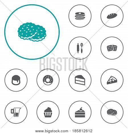 Set Of 12 Bakery Icons Set.Collection Of Pastry, Sweetmeat, Loaf And Other Elements.
