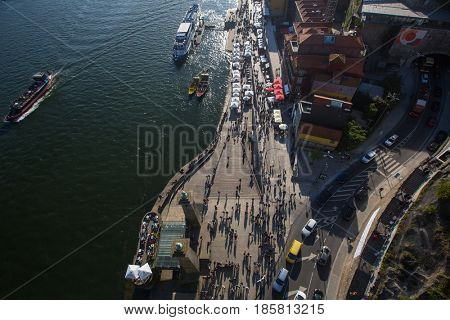 PORTO, PORTUGAL - APR 14, 2017: Top view of Ribeira at Douro river. City of Porto was elected from 20 selected Best European Destination 2017 and won this prestigious title.