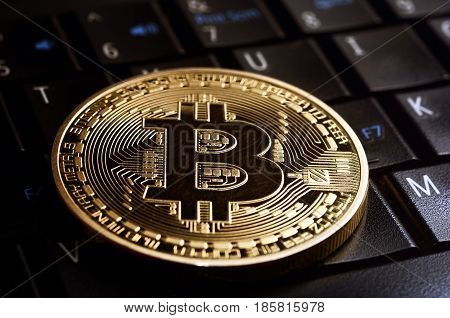 Golden bitcoin coin on laptop keyboard . Business concept