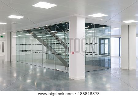 Stairwell in a contemporary office building interior