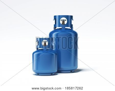 Two types of blue gas bottles isolated on white background. 3d rendering