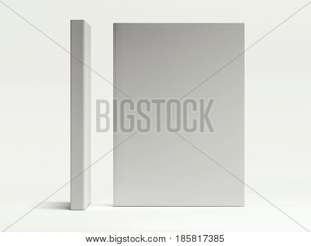 Blank gray book isolated on white background. 3d rendering