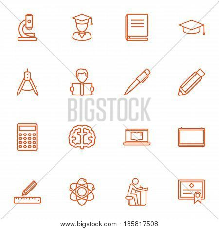 Set Of 16 Studies Outline Icons Set.Collection Of Microscope, Ruler, Encyclopedia And Other Elements.