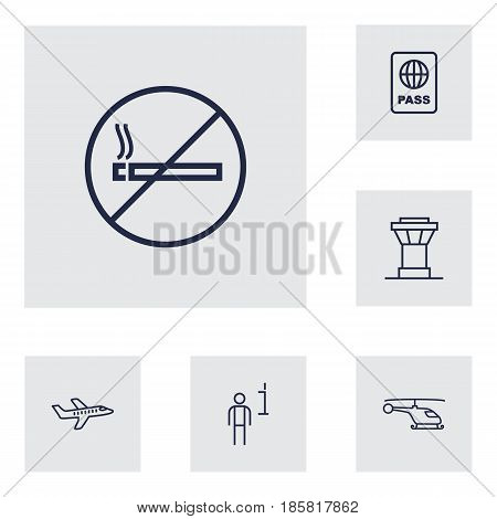 Set Of 6 Land Outline Icons Set.Collection Of Plane, Certification, Control Tower And Other Elements.