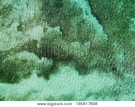 Aerial view of turquoise sea. Top view. Bohol, Philippines 2016.