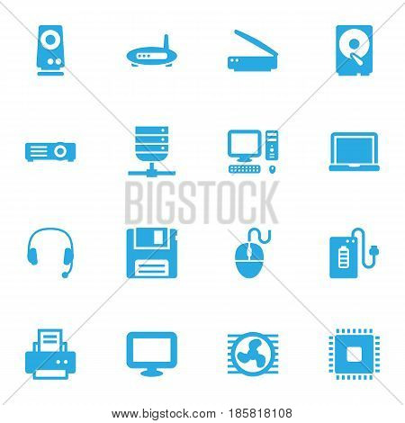 Set Of 16 Laptop Icons Set.Collection Of Fan, Router, Headset And Other Elements.