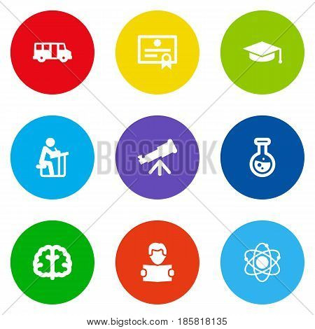 Set Of 9 Education Icons Set.Collection Of School Autobus, Certificate, Academic Hat And Other Elements.